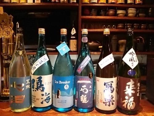 日本酒の新顔2は夏酒多く七田・鳴海・玉川・石鎚・寫楽等です