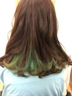 かわいいインナーグラデーション緑、水色