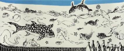 海で生活している様々な生物を描いた手ぬぐい