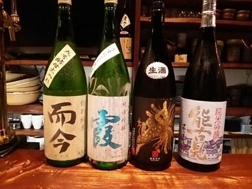 日本酒の新顔は而今・春霞・鳳凰美田・能古見です。