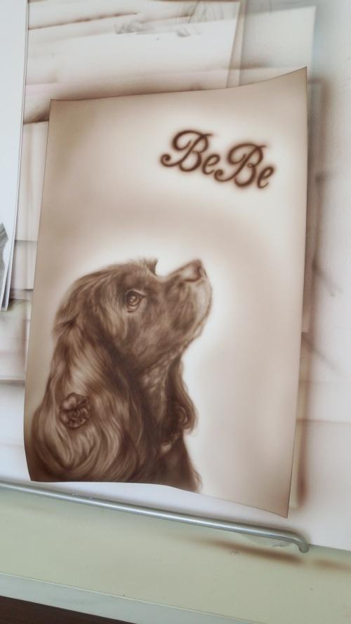 エアーブラシアート 犬肖像画
