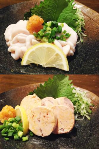 旬の味覚 真鱈の白子ポン酢、あん肝ポン酢