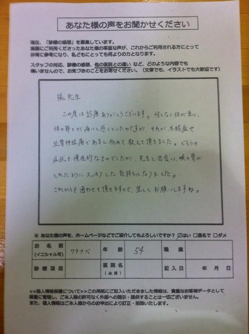 気功整体治療の患者さんの声2014/8ー3
