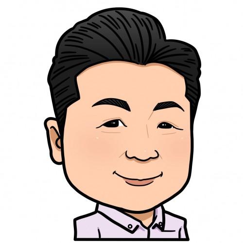 代表の加藤(似顔絵)