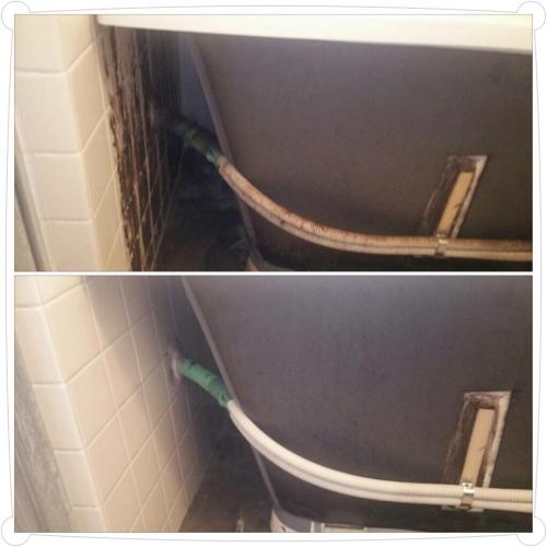 荒川区で浴槽裏の掃除!
