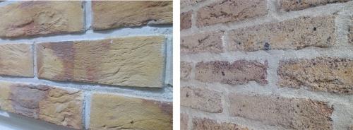 レンガタイルの壁の表情、デザイン