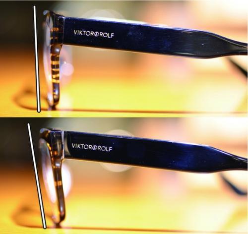 メガネ 調整 【プラスチック(セル)フレームの傾斜角度】