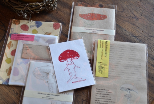 キノコのカードやレターセット