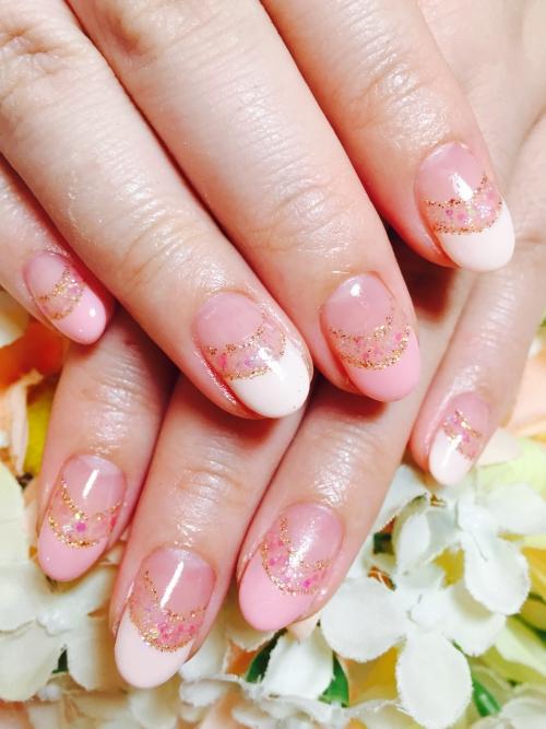 ☆桜色フレンチカラー&キラキラダブルライン☆