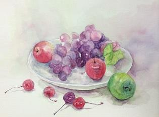 世田谷区に在住のTさんの水彩画『果物』