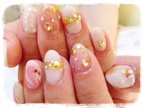☆flamingo shell summer nail☆
