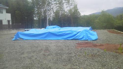 嬉野市Hさん宅の棟上前の雨養生