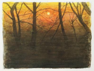 世田谷区に在住のYさんの水彩画『夕景』