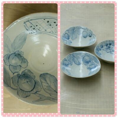 若い柿の実の絵が描かれたかわいい小鉢が焼き上がりました。