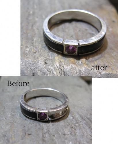 石が割れて取れてしまった指輪の修理