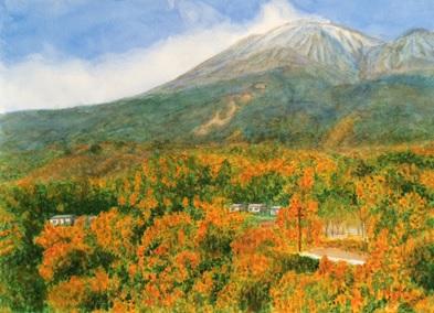 世田谷区に在住のMさんの水彩画の作品『紅葉の景色』