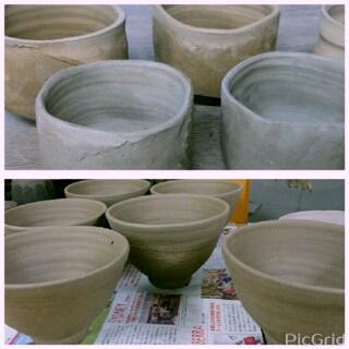 秋の登り窯焼成に向けて、抹茶茶碗を2種類作りました。