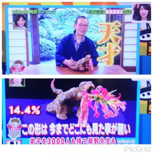 プレバト陶芸ランキング、TBS週間瞬間視聴率第4位でした。