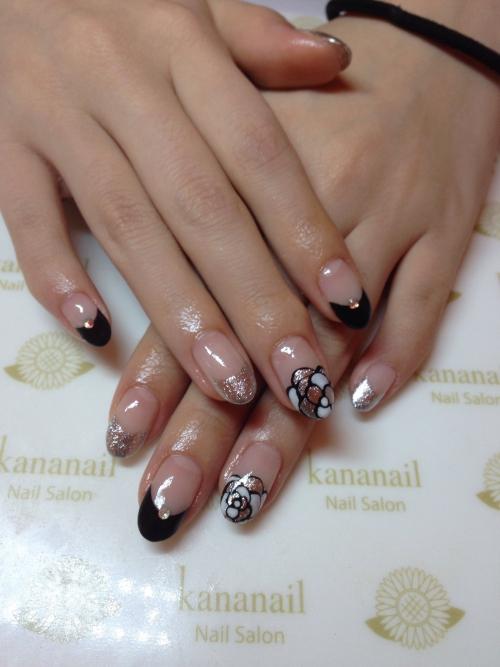 ☆stylish Black flower nail☆