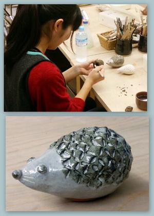 ただ今、陶芸女子、増殖中。 かわいいハリネズミが完成です。