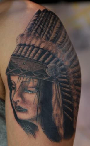 刺青 腕 インディアン woman スカル