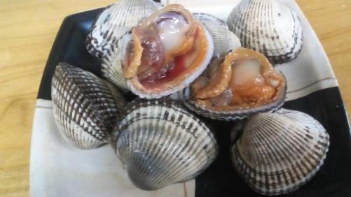 サルボ貝。赤貝に似た貝です。旨みたっぷり。