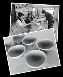 陶芸教室 東京 国立けんぼう窯 陶芸体験にお友達3人で。