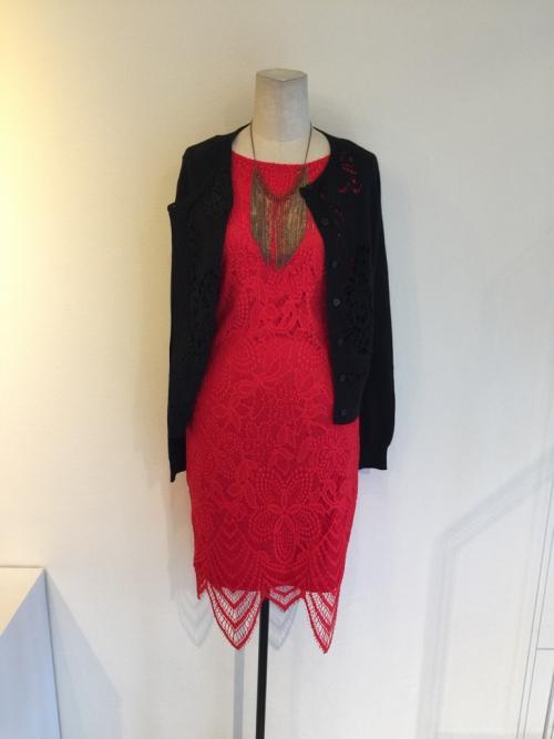 レースの赤のドレス