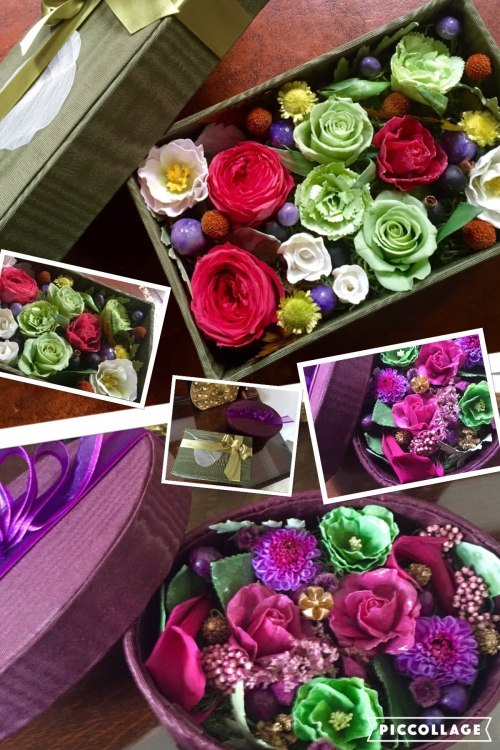 プリザーブドと蝋花とのコラボボックス