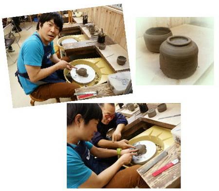陶芸教室 国立けんぼう窯 陶芸芸人カンカンさんロクロ修行中
