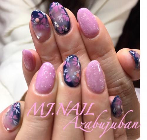 春ネイル 夜桜 ピンクラメ