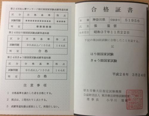 第24回はり師ときゅう師国家試験は 最高点で 全国  1位