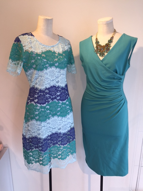 Fwd: ブルーグリーンのグラデーションレースドレス