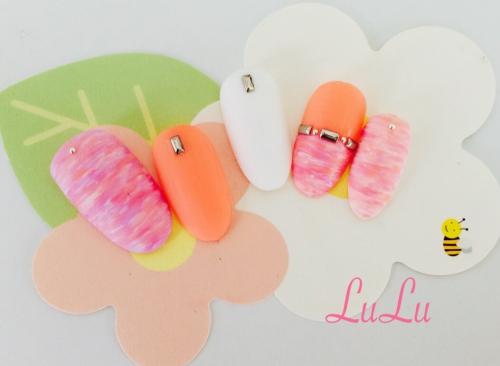 パステルカラーの春ネイル☆オレンジ☆ピンク