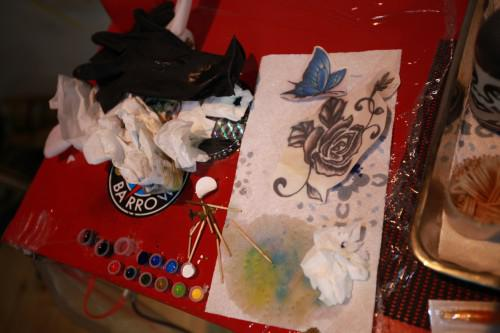 刺青 蝶 バラ