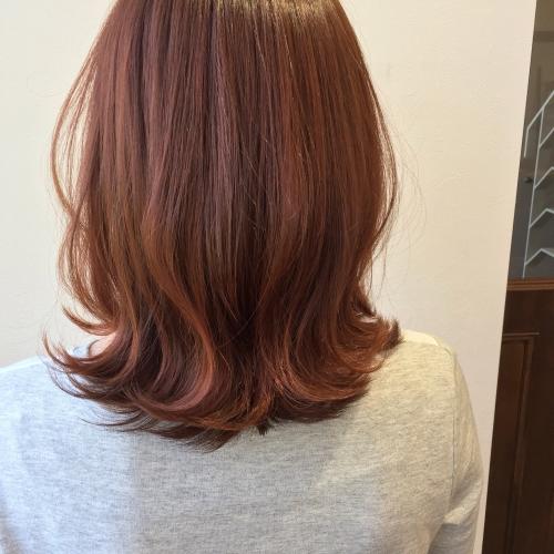 ヘアカラー コーラルピンク ピンクヘアー