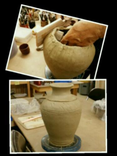 叩き作りの壷。陶芸教室 東京 国立けんぼう窯