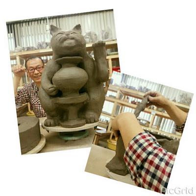ビックサイズの招き猫を作りました。陶芸教室 国立けんぼう窯