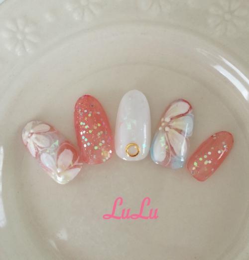 夏ネイル☆お花☆白