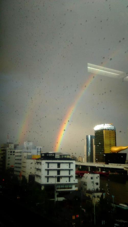 夕方の虹の写真頂きました\(^^)/