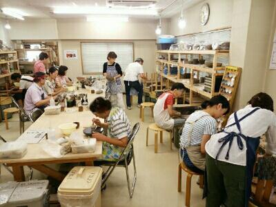 陶芸教室 東京 国立けんぼう窯 陶芸教室の9月の様子。