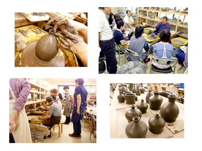 陶芸教室 東京 国立けんぼう窯 集中講座、備前粘土で作る。
