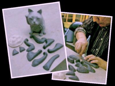 陶芸教室 東京 国立けんぼう窯 招き猫のパーツつくり。