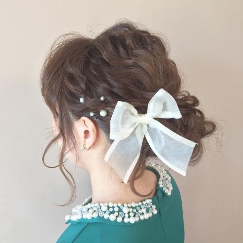 結婚式 お呼ばれヘア 髪型 お団子アレンジ