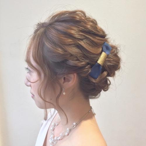 ヘアセット お呼ばれヘア ロープ編み込み まとめ髪