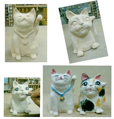 陶芸教室 国立けんぼう窯。集中講座で作った猫に彩色して焼成