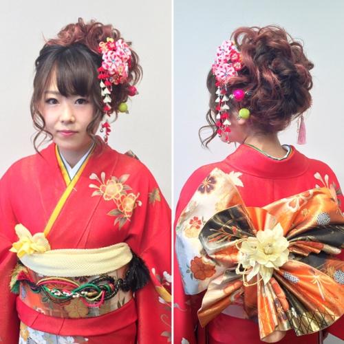 成人式 髪型 前撮り 振袖 着付け 和装ヘア