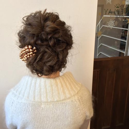 パーティーアップ 結婚式お呼ばれヘア ロープ編みアレンジ