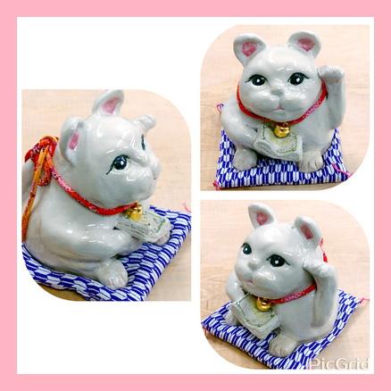 陶芸教室 国立けんぼう窯 座布団に座ったかわいい招き猫