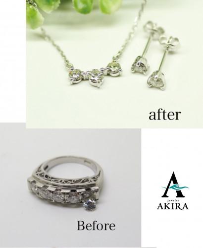 5石のダイヤモンドを使いピアスとネックレスにリフォーム